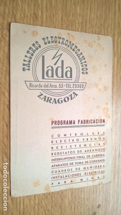 TALLERES LADA (ZARAGOZA) TARJETA PUBLICITARIA (Coleccionismo en Papel - Varios)