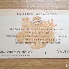 Coleccionismo Papel Varios: TALLERES MECÁNICOS MUVA, VALENCIA, TARJETA PUBLICITARIA. Lote 118723399