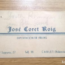Sammelleidenschaft Andere Papierartikel - Frutas José Coret Roig. Carlet (Valencia) Tarjeta publicitaria - 118829311