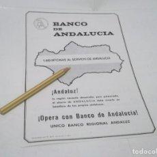 Coleccionismo Papel Varios: RECORTE DEL BANCO DE ANDALUCIA . UNICO BANCO REGIONAL ANDALUZ . Lote 119244283