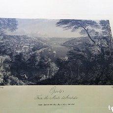 Coleccionismo Papel Varios: OPORTO Y SERRA DE ARABIDA - CÓPIA DE UN GRABADO ANTIGIA. Lote 119626675