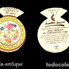 Coleccionismo Papel Varios: EMBLEMA AUXILIO SOCIAL - SER.J 4 - PLATO DE SARGADELOS. Lote 120057587