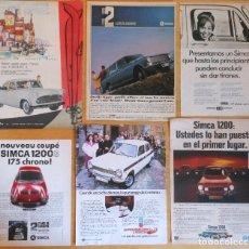 Coleccionismo Papel Varios: SIMCA 6X 1950S/1970S ORIGINAL ADS CAR AD AUTOMOVILE PUBLICIDAD CHRYSLER ANUNCIOS COCHE. Lote 120075079