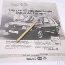 Coleccionismo Papel Varios: RECORTE PUBLICIDAD AÑOS 80/90 - SEAT RONDA . Lote 120240699