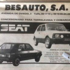 Coleccionismo Papel Varios: PUBLICIDAD AUTOMÓVIL SEAT DE 1982 TORRELAVEGA SEAT FURA CRONO RONDA CROMO. Lote 120293814