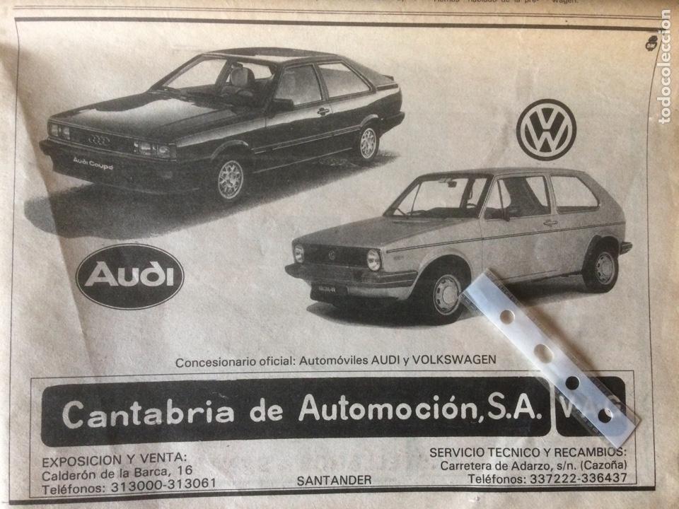 PUBLICIDAD AUTOMÓVIL VW GOLF Y AUDI COUPE DE 1982 SANTANDER (Coleccionismo en Papel - Varios)