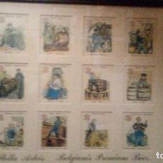 Coleccionismo Papel Varios: CUADRO DE ANTIGUOS CROMOS SOBRE LA FABRICACION DE LA CERVEZA STELLA ARTOIS- MIDE 50 X 42 CMS. Lote 120472459