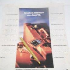 Coleccionismo Papel Varios: RECORTE PUBLICIDAD AÑOS 80/90 - EXPO-92 SEVILLA . Lote 120585179