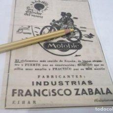 Coleccionismo Papel Varios: RECORTE PUBLICIDAD AÑOS 50/60 - MOTO BICICLETA MOTOBIC - FRANCISCO ZABALA .EIBAR . Lote 120701943