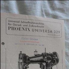 Coleccionismo Papel Varios: ANTIGUA HOJA PUBLICITARIA.MAQUINA COSER.PHOENIX UNIVERSA 329.BAER & REMPEL.ALEMANIA. Lote 121052707