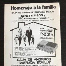 Coleccionismo Papel Varios: ANUNCIO PUBLICIDAD RECORTE REVISTA - CAJA DE AHORROS SAGRADA FAMILIA SORTEO PISOS CASSETTE BANCOS. Lote 121148403