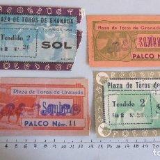 Coleccionismo Papel Varios: LOTE CUATRO ENTRADAS TAURINAS PLAZA TOROS GRANADA AÑOS 50. Lote 121232791
