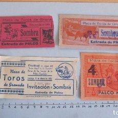 Coleccionismo Papel Varios: LOTE CUATRO ENTRADAS TAURINAS PLAZA TOROS GRANADA AÑOS 50. Lote 121232959