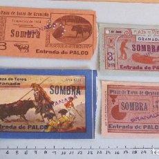 Coleccionismo Papel Varios: LOTE CUATRO ENTRADAS TAURINAS PLAZA TOROS GRANADA AÑOS 50. Lote 121233027