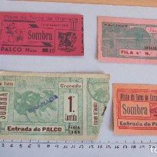 Coleccionismo Papel Varios: LOTE CUATRO ENTRADAS TAURINAS PLAZA TOROS GRANADA AÑOS 50. Lote 121233083