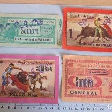 Coleccionismo Papel Varios: LOTE CUATRO ENTRADAS TAURINAS PLAZA TOROS GRANADA AÑOS 50. Lote 121233123