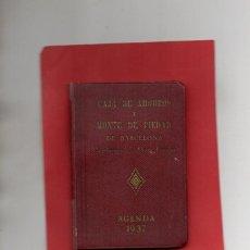 Coleccionismo Papel Varios: AGENDA 1937 CAJA DE AHORROS Y MONTE DE PIEDAD BARCELONA. Lote 121492375