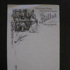 Coleccionismo Papel Varios: MENU - GRANS VINS CHAMPAGNISES - BILLOT -FRANCE -VER FOTOS-(V-14.589). Lote 121905799
