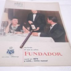 Coleccionismo Papel Varios: RECORTE PUBLICIDAD AÑO 60 - BRANDY -COÑAC FUNDADOR . Lote 122047643