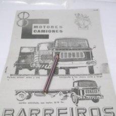 Coleccionismo Papel Varios: RECORTE PUBLICIDAD AÑOS 50/60 - CAMIONES BARREIROS. Lote 122207551