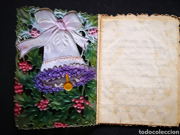 Coleccionismo Papel Varios: Tarjeta navideña campana relieve inscrita ppio s xx 12X16,5 cm - Foto 2 - 122629043