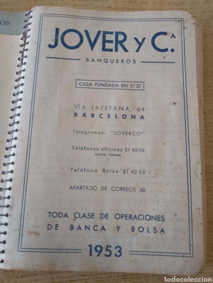 Coleccionismo Papel Varios: **ANTIGUA AGENDA, --JOVER I CIA (BANQUEROS) OPERACIONES DE BANCA Y BOLSA (1953)** - Foto 3 - 122682644