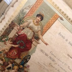 Coleccionismo Papel Varios: DIPLOMA CROMOLITOGRAFÍA. SANTURCE, ORTUELLA 1921. 2º PREMIO GEOMETRÍA.. Lote 122910300