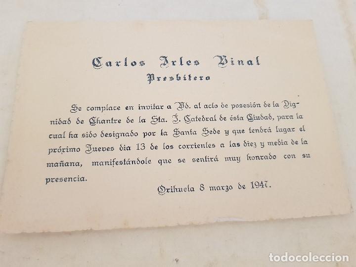 Invitacion Tarjeta Religiosa Catedral De Orihuela Alicante Arles Binal 1947
