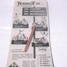Coleccionismo Papel Varios: RECORTE PUBLICIDAD AÑO 60 - MOTO TERROT 49 C.C, DOS VELOCIDADES . TERROT SAE VITORIA. Lote 219193043