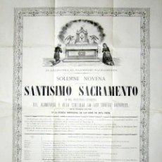 Coleccionismo Papel Varios: AÑO 1880. CARTEL RELIGIOSO, SANTÍSIMO SACRAMENTO. IGLESIA PARROQUIAL DE SAN GINÉS, MADRID. . Lote 126357535