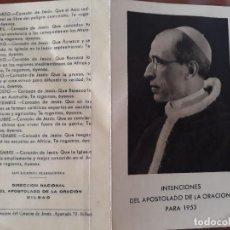 Coleccionismo Papel Varios: BILBAO, INTENCIONES DEL APOSTOLADO DE LA ORACION PARA 1953. Lote 126664707