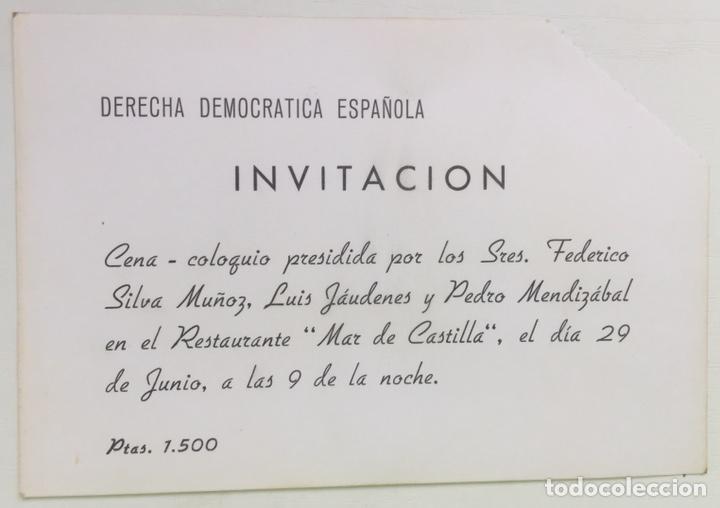 Lote Tarjeta Invitación Cena Derecha Democrática Española Menú Mar De Castilla Cena Coloquio 1979
