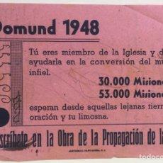 Coleccionismo Papel Varios: HOJA PUBLICITARIA DOMUND 1948 - SANTANDER (CANTABRIA). Lote 126864498