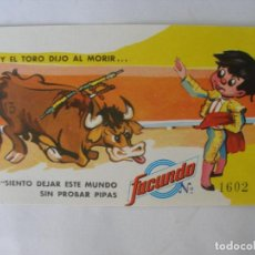 Coleccionismo Papel Varios: PIPAS FACUNDO LOTERÍA NACIONAL CASA DESI ARANDA DE DUERO BURGOS 1971. Lote 179213692