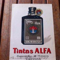 Coleccionismo Papel Varios: FOLLETO TINTAS ALFA. ESCRITURA. PARA PLUMAS Y PLUMINES.. Lote 130309102