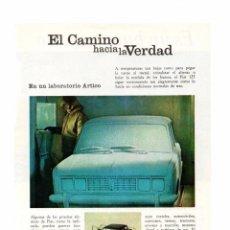 Coleccionismo Papel Varios: RECORTE DE PRENSA REVISTA O PERIÓDICO PUBLICIDAD FIAT MODELO 125 Y PAN AM ADVERTISING PRESS VER FOTO. Lote 131161204