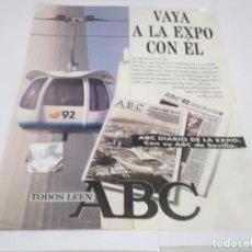 Coleccionismo Papel Varios: RECORTE PUBLICIDAD AÑOS 90 - EXPO - 92 SEVILLA , RECORTE CON PEGATINA PABELLÓN DE LA EXPO -92. Lote 132575158