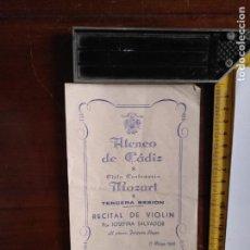 Coleccionismo Papel Varios: 1956 ATENEO CADIZ PROGRAMA CENTENARIO MOZART RECITAL VIOLIN JOSEFINA SALVADOR PIANO JOAQUIN REYES . Lote 132591698