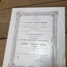 Coleccionismo Papel Varios: TÍTULO RELIGIOSO DE JOSE VILLAR Y LOZANO PRESBÍTERO MURCIA 1862 EN LATIN. Lote 132973434