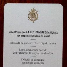 Coleccionismo Papel Varios: MENU. CENA OFRECIDA PRINCIPE DE ASTURIAS. CUMBRE DE MADRID. EL PARDO. 1997. INCLUIDO.. Lote 134270487