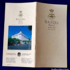 Coleccionismo Papel Varios: FOLLETO HOTEL RITZ. AÑOS 80. ENVIO INCLUIDO.. Lote 133129026