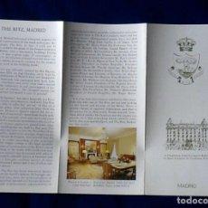 Coleccionismo Papel Varios: FOLLETO TRIPTICO. HOTEL RITZ. AÑOS 80. ENVIO INCLUIDO. . Lote 133234834