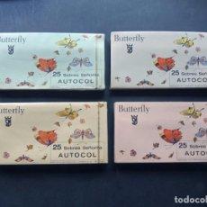 Coleccionismo Papel Varios: 100 SOBRES BUTTERFLAY / SOBRES SEÑORITA - AUTOCOL / 4 COLORES / SEGUNDO MORENO / PRECINTADOS. Lote 133332670