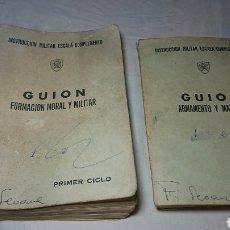 Coleccionismo Papel Varios: INSTRUCCION MILITAR A ESCALA 1973 - GUION FORMACIÓN MORAL Y MILITAR + ARMAMENTO Y MATERIAL. Lote 133865182