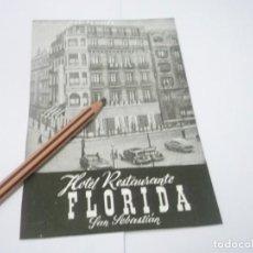Coleccionismo Papel Varios: RECORTE PUBLICIDAD AÑOS 50/60 - HOTEL RESTAURANTE FLORIDA - SAN SEBASTIÁN. Lote 137132438