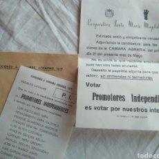 Coleccionismo Papel Varios: PAPELETA ELECCIONES CÁMARAS AGRARIAS 1978- PROMOTORES INDEPENDIENTES NOVELDA. Lote 137142661