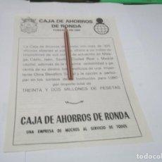 Coleccionismo Papel Varios: RECORTE PUBLICIDAD AÑOS 60/70 - CAJA DE AHORROS DE RONDA . Lote 137210102
