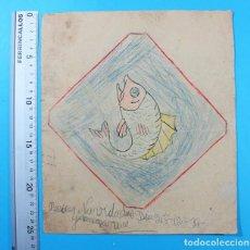 Outros artigos de papel: FELICITACION NAVIDAD CON UN DIBUJO DE UN PEZ HECHA POR UN NIÑO EN 1937 GUERRA CIVIL 25,50 X 22 CM. Lote 137888782
