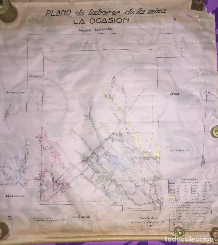LA UNION- CARTAGENA- MURCIA- MINERIA- PLANO DE LABORES MINA LA OCASION (Coleccionismo en Papel - Varios)