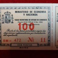 Coleccionismo Papel Varios: TALONARIO DE TASAS SECRETARÍAS DEL ESTADO DE COMERCIO. MINISTRO DE ECONOMÍA Y HACIENDA. Lote 139389672